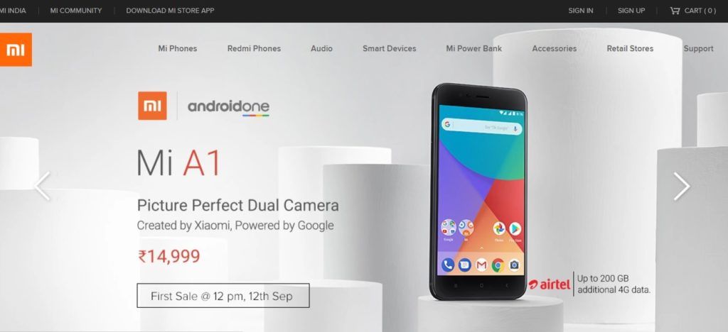 Xiaomi Mi A1 launch offer listed in Mi.com