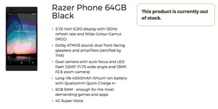 The supposed Razer Phone listing was spotted by British mobile provider 3G UK